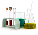 Set of laboratory equipment with chemical solutions and young sunflower isolated on white background with clipping path.
