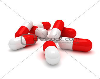 Capsules on white background