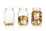 Money of jar isolated on white background
