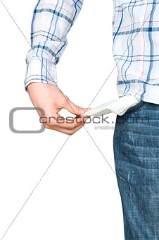 Man Pulling out Empty Pocket Isolated on white background