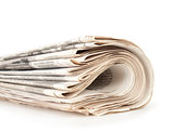 stacks of newspapers isolated on white