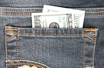 One hundred dollars in the back pocket of your jeans. Closeup.