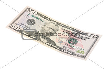 50 dollar banknote ,isolated on a white background
