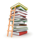 A ladder on stack of books.3d