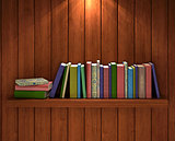 row of books with bookmarks, free copy space