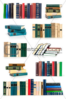 Old colorful books isolated on white background