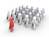 Businessman is leading a group of other businessmen