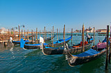 Venice Italy, view of gondolas