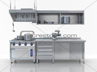 Modern white kitchen isolated on white (studio light version)
