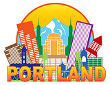 Portland Oregon Skyline Circle Color Illustration