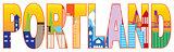 Portland Oregon Skyline Text Outline Color Illustration