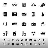 Travel luggage preparation icons on white background