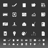 Writing related icons on gray background
