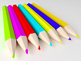 different colors Pencils