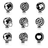Globe earth vector icons with cursor hand and arrow