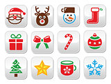 Christmas colorful buttons set - Santa, present, tree, Rudolf