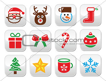 Christmas colorful buttons set - Santa, present, tree, Rudolf