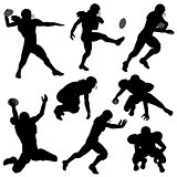 Silhouettes American Football Players