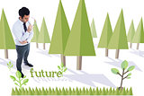 Future against forest with trees