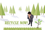 Recycle now against forest with earth tree