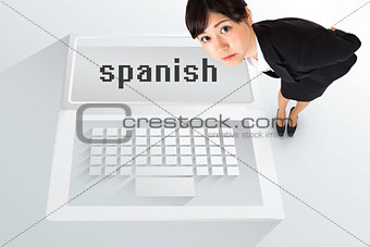 The word spanish and serious businesswoman