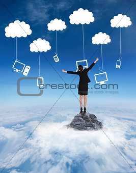 Composite image of excited businesswoman cheering