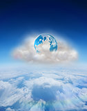 Composite image of earth on floating cloud