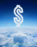 Composite image of cloud in shape of dollar