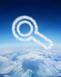 Composite image of cloud in shape of magnifying glass