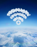 Composite image of cloud in shape of wifi sign