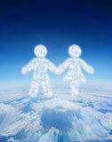 Composite image of cloud in shape of couple