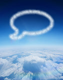 Composite image of cloud in shape of speech bubble