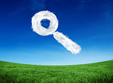 Composite image of cloud magnifying glass