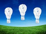Composite image of cloud light bulbs