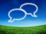 Composite image of cloud in shape of speech bubbles
