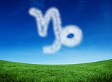 Composite image of cloud in shape of capricorn star sign