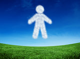 Composite image of cloud in shape of man