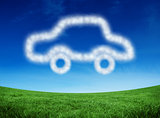 Composite image of cloud in shape of car