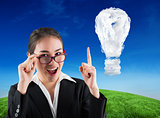 Composite image of young businesswoman getting an idea