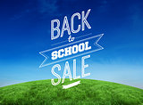 Composite image of back to school sale message