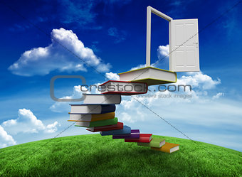 Composite image of steps made of books leading to door