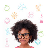 Composite image of cute pupil wearing glasses