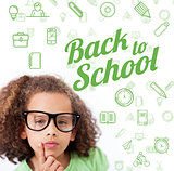 Composite image of back to school message with icons