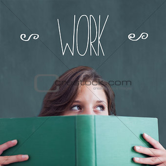 Work against student holding book