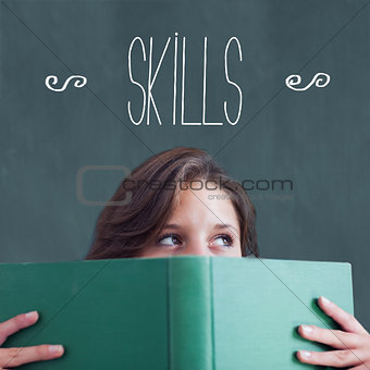 Skills against student holding book