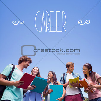 Career against students standing and chatting together