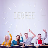 Degree against college students raising hands in the classroom