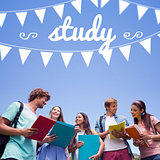 Study against students standing and chatting together