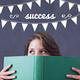 Success against student holding book