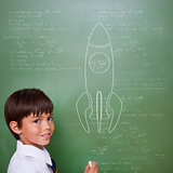 Composite image of rocket ship